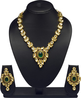 VK Jewels Brass Jewel Set(Gold) at flipkart