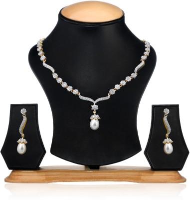 Zaveri Pearls Brass Jewel Set(Gold, Silver) at flipkart