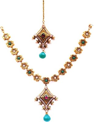 Kundaan Copper, Alloy Jewel Set(Red, Green, Gold)