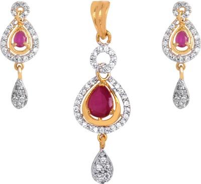 Orolush Brass Jewel Set(Red) at flipkart