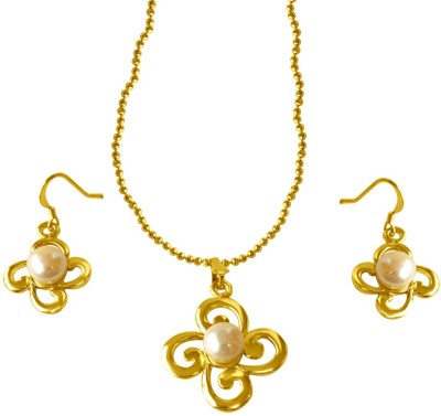 Surat Diamond Metal Jewel Set(White, Gold) at flipkart