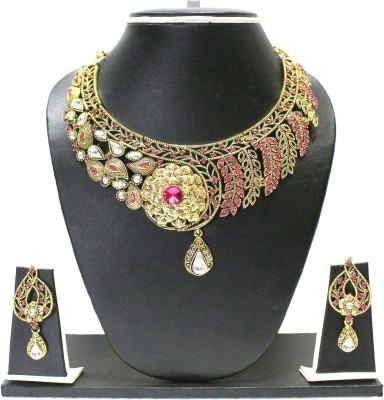 Zaveri Pearls Zinc Jewel Set(Pink, White) at flipkart