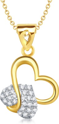 VK Jewels Charming Heart Shape Gold-plated Cubic Zirconia Alloy Pendant
