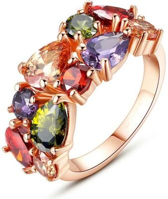 University Trendz Univ_R024 Alloy Swarovski Crystal 18K Rose Gold Plated Ring