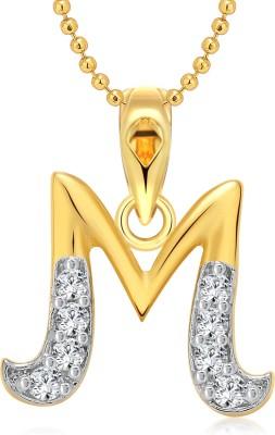 "Vighnaharta \""M\"" Letter 18K Yellow Gold Cubic Zirconia Alloy Pendant"
