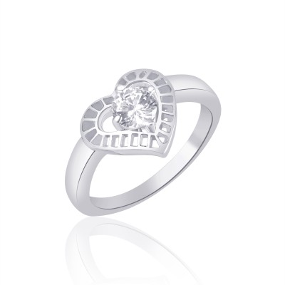 VK Jewels Heart Solitaire Rhodium Plated Alloy Cubic Zirconia Ring