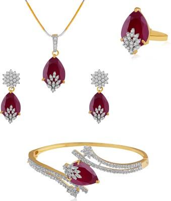 American Diamond Copper, Brass Jewel Set(Gold, White, Red) at flipkart