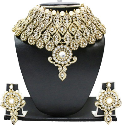 Zaveri Pearls Alloy Jewel Set(White, Gold) at flipkart