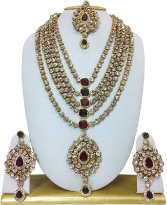 moKanc Alloy Jewel Set(Maroon, Green) at flipkart