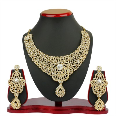 VK Jewels Zinc Jewel Set(Gold) at flipkart