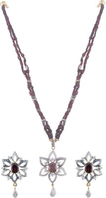 Rejewel Stone Jewel Set(Purple) at flipkart