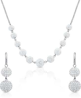 Oviya Alloy, Brass Jewel Set(Silver, White) at flipkart