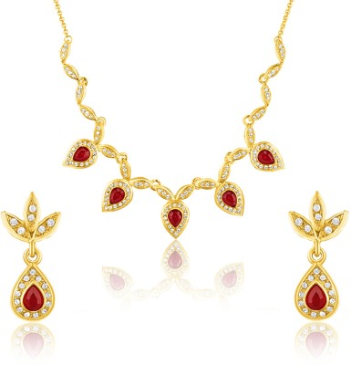 Oviya Brass, Alloy Jewel Set(Gold, White, Red) at flipkart