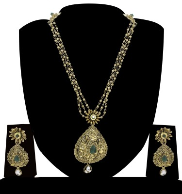 Zaveri Pearls Zinc Jewel Set(Gold, Green) at flipkart