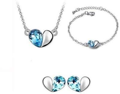 Amour Alloy, Crystal Jewel Set Silver, Blue