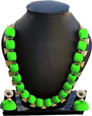 Jyotis Creations Silk Dori Jewel Set(Green) at flipkart