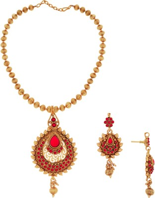 Spargz Brass Jewel Set(Gold, Red) at flipkart