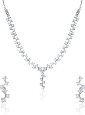 Mahi Brass Jewel Set(Silver, White) at flipkart