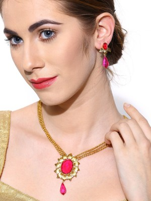 Zaveri Pearls Zinc Jewel Set(Pink) at flipkart