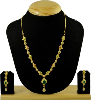 Kalyani Covering Brass, Copper, Alloy Jewel Set(Gold, Green, Pink) at flipkart