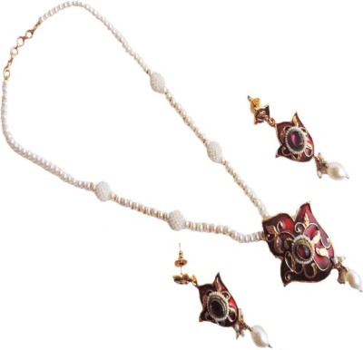 Kundaan Copper, Alloy Jewel Set(Red, Gold)