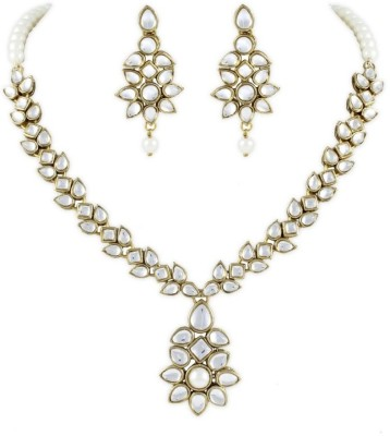 Karatcart Brass, Alloy Jewel Set(Gold, White) at flipkart