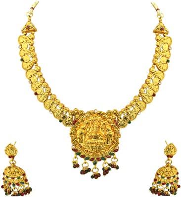Surat Diamond Metal Jewel Set(Red, Green, Gold) at flipkart