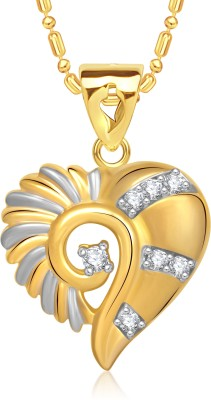 VK Jewels Stone in Heart Gold-plated Cubic Zirconia Alloy Pendant