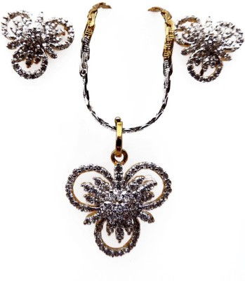 Kundaan Alloy Jewel Set(Gold, White) at flipkart