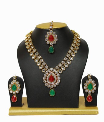Sewad Alloy Jewel Set(Gold, Maroon, Green) at flipkart