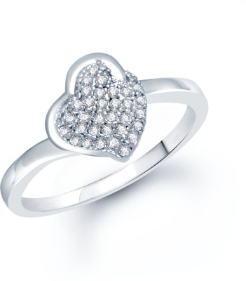 VK Jewels Dil Shaped Rhodium plated Alloy Cubic Zirconia Rhodium Plated Ring at flipkart