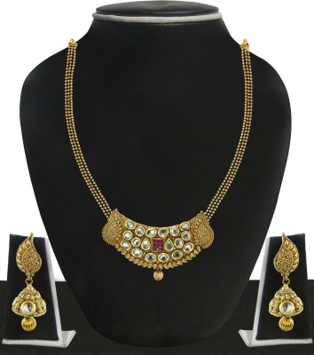 Zaveri Pearls Zinc Jewel Set(Gold, Pink, White) at flipkart