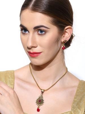 Zaveri Pearls Zinc Jewel Set(Pink, Gold) at flipkart