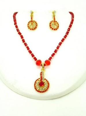 Jewels Kafe Crystal Jewel Set(Red, Gold) at flipkart