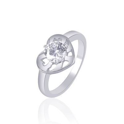 VK Jewels Divine Love Dual Heart Shape Alloy Cubic Zirconia Rhodium Plated Ring