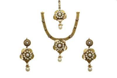 Aarnaa Copper Jewel Set(White) at flipkart