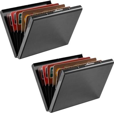 Billionbag | High Quality | Pack of 2 Full Black Metal Waterproof Business 6 Card Holder(Set of 2, Black)