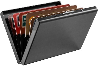 Billionbag | High Quality | Limited Edition Full Black Metal RFID 6 Card Holder(Set of 1, Black)
