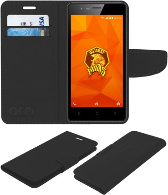 ACM Flip Cover for Intex Aqua Lions 4g(Black, Cases with Holder, Artificial Leather)