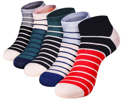 Novasox Men's Striped Ankle Length Socks(Pack of 5)