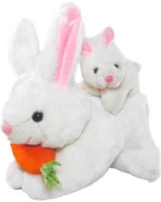 Swastikunj Mother Rabbit with cute baby   20 cm White Swastikunj Soft Toys