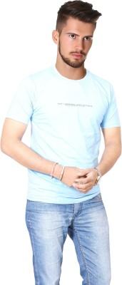 FABLUXURY Solid Men's Round Neck Light Blue T-Shirt