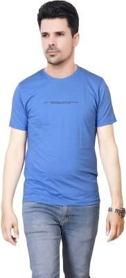 FABLUXURY Solid Men's Round Neck Dark Blue T-Shirt