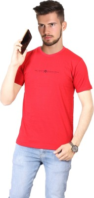 FABLUXURY Solid Men's Round Neck Red T-Shirt