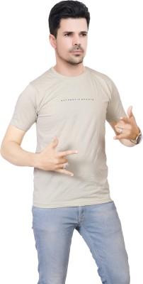 FABLUXURY Solid Men's Round Neck Grey T-Shirt