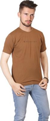 FABLUXURY Solid Men's Round Neck Brown T-Shirt