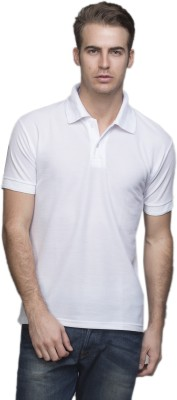 Lambency Solid Men's Polo Neck White T-Shirt