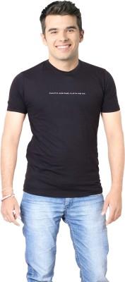 FABLUXURY Solid Men's Round Neck Black T-Shirt