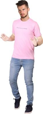 FABLUXURY Solid Men's Round Neck Pink T-Shirt