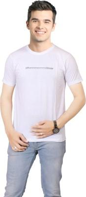 FABLUXURY Solid Men's Round Neck White T-Shirt